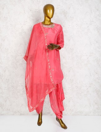 Pink hue cotton silk dhoti suit