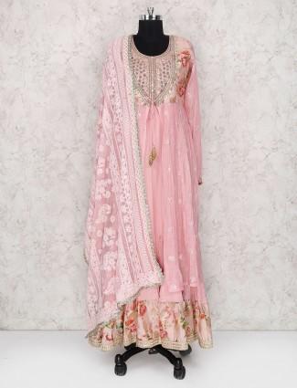 Pink hue cotton silk double layer salwar suit