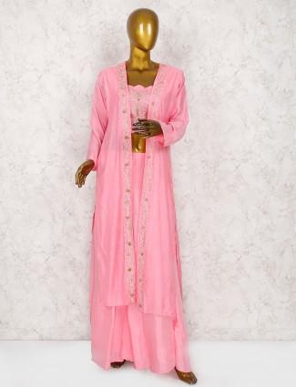 Pink hue cotton silk jacket style punjabi palazzo suit