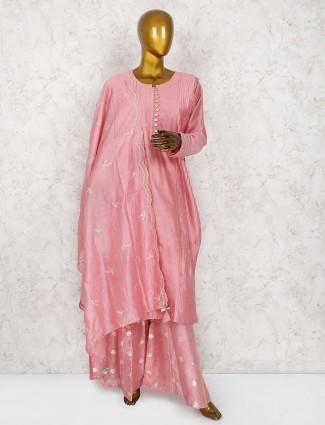 Pink hue cotton silk punjabi sharara suit
