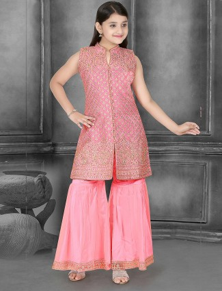 Pink hue cotton silk punjabi sharara suit in in cotton silk