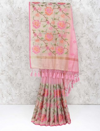Pink hue festive pretty saree