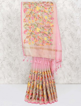 Pink hue festive saree in cotton