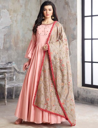Pink hue floor length pakistani anarkali salwar suit in cotton silk