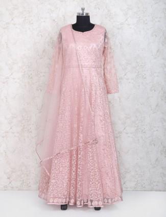 Pink hue floor length anarkali suit in net