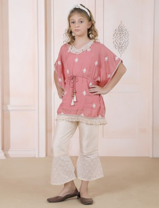 Pink hue indo western style pant suit