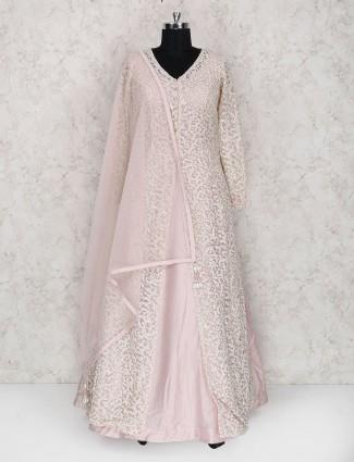 Pink hue net fabric jacket style anarkali suit