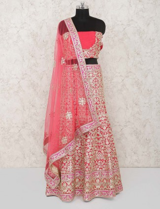18106527285 Pink hue pretty raw silk semi stitched bridal lehenga choli