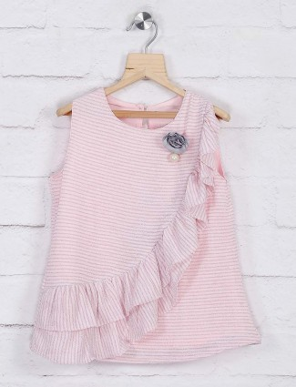 Pink hue pretty round neck top
