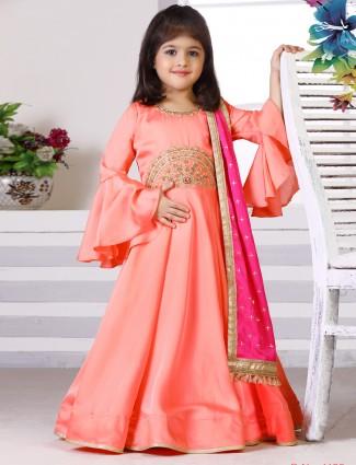 Pink hue raw silk fabric anarkali suit