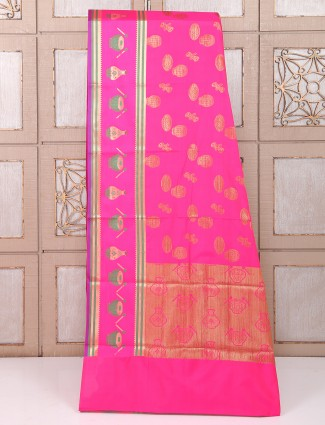 Pink hue silk fabric wedding wear saree