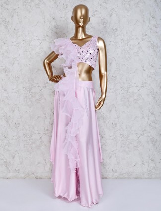 Pink indo western satin palazzo suit