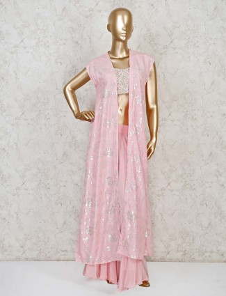 Pink jacket style indo western palazzo suit for wedding