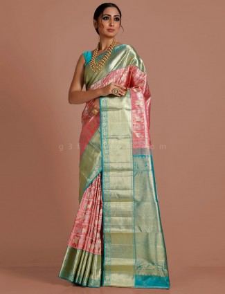 Pink kanjivaram tissue silk saree for bridal wear