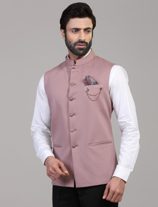 Pink knitted solid stand collar waistcoat