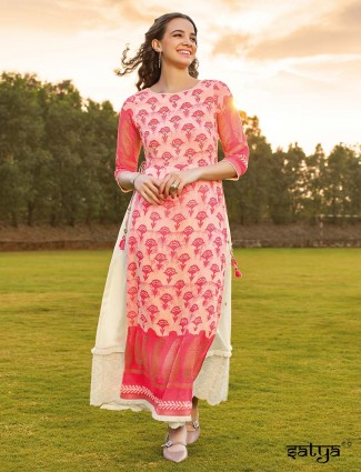 Pink kurti in cotton printed