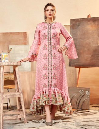 Pink kurti in cotton silk for festive wear