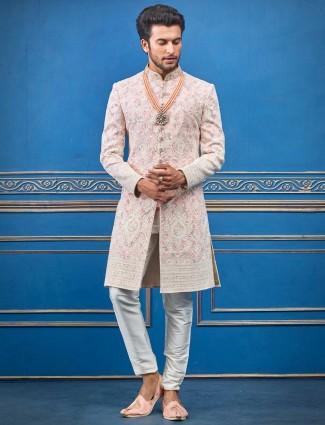 Pink lakhnavi thread designer terry rayon indo western