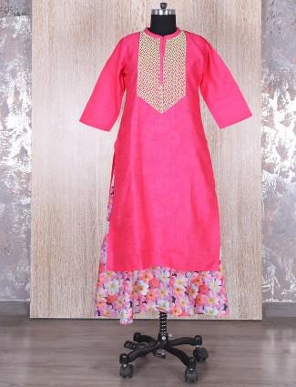 Pink layered silk kurti
