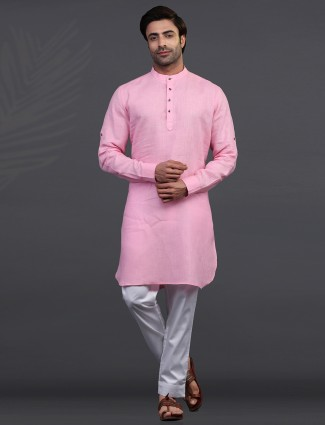 Pink linen mens kurta suit for festive days