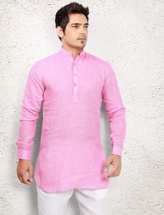 Pink linen short pathani