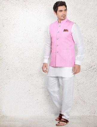 Pink linen waistcoat set