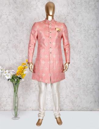 Pink mens indo western in silk