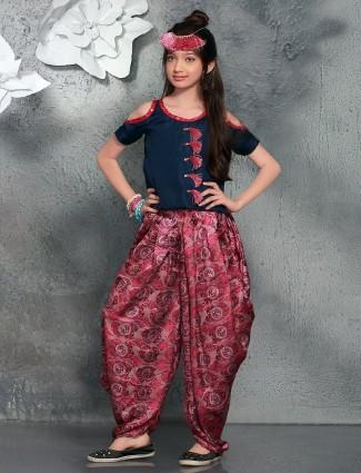 Pink navy crop style silk salwar suit