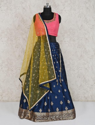 Pink navy raw silk lehenga choli for festive