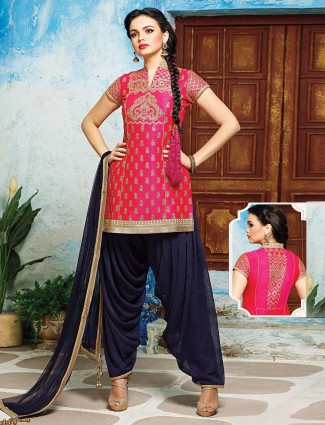 Pink navy silk punjabi suit