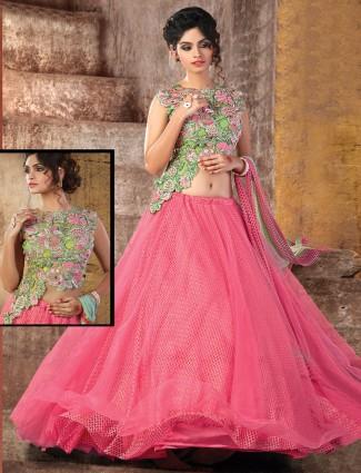 Pink net alluring lehenga choli