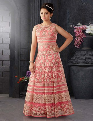 Pink net fabric designer gown for party