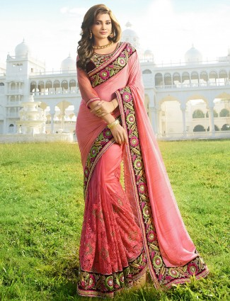 Pink net georgette half and half saree