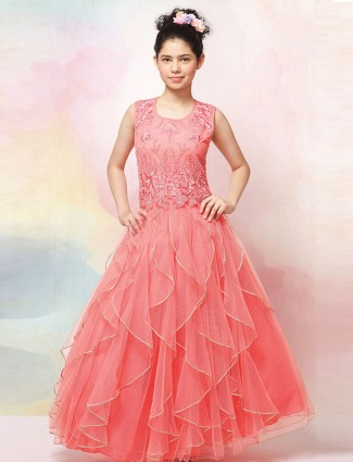 Pink net party round neck gown