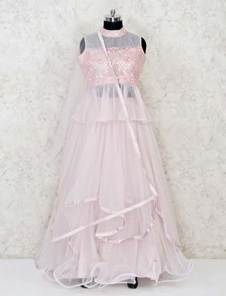 Pink net party wear designer lehenga suit