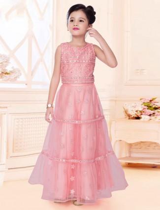 Pink net party wear girls lehenga choli