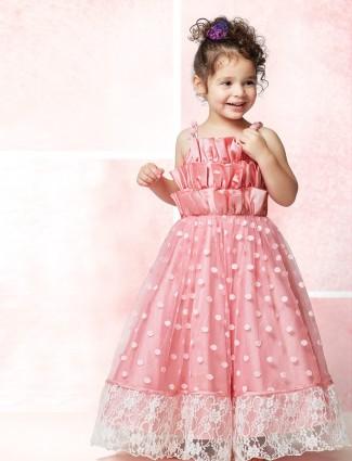 Pink net wedding floor length gown