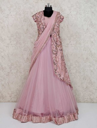 Pink net wedding wear jecket style designer anarkali