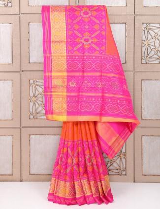 Pink orange color patola silk wedding wear saree