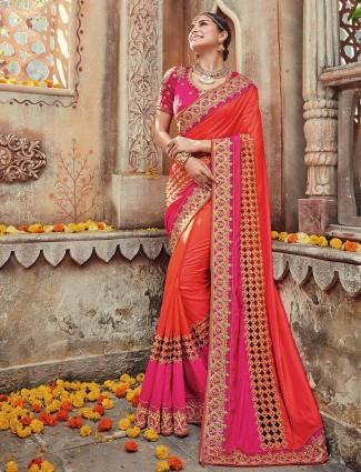 Pink orange designer silk saree