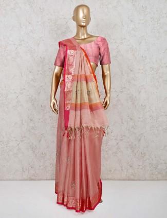 Pink organza tissue silk designer saree