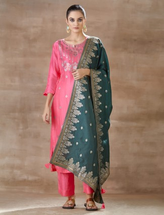 Pink pant style salwar suit design in cotton silk