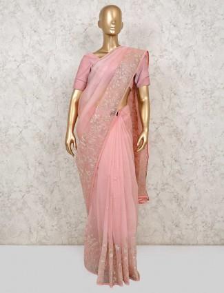 Pink party saree in organza tissue