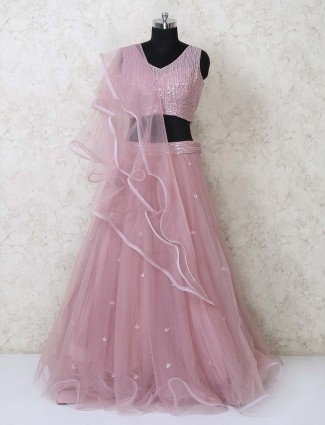 Pink party wear designer lehenga choli in net