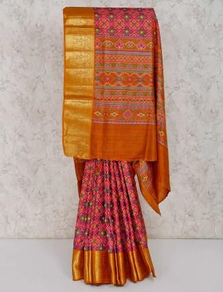 Pink patola printed cotton silk saree