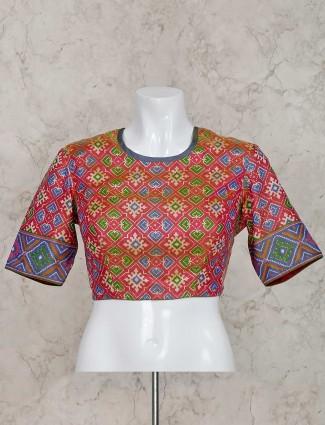 Pink patola silk ready made blouse