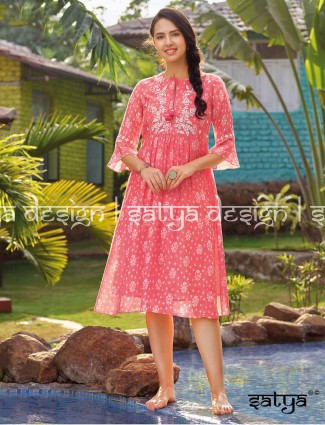 Pink printed cotton casual wear kurti