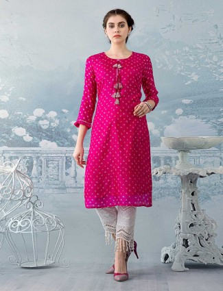 Pink printed kurti set in cotton for festivals