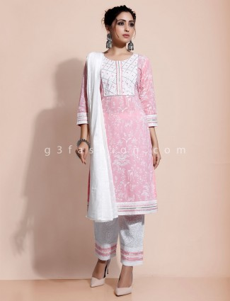 Pink printed kurti with pant in cotton