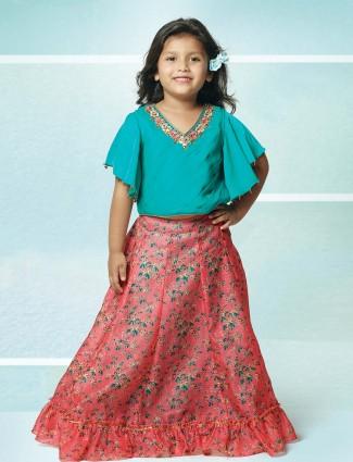 Pink printed pattern raw silk fabric lehenga choli